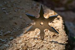 Shuriken throwing star, traditional japanese ninja cold weapon stuck in wooden background.  royalty free stock image