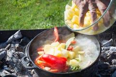 Shurpa soppa i en utomhus- stor j?rn- kittel matlagning M?ns hand satte ingredienser f?r soppa arkivbilder