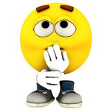Shush. The character called emotiguy in his distinct pose and one of his range of expression Royalty Free Stock Images