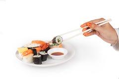 Shushi pick with chop stick Stock Image