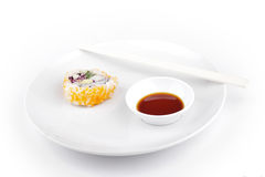 Shushi served in with souce Stock Photo