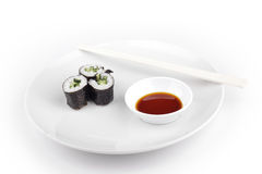 Shushi served in with souce Stock Image