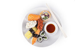 Shushi served in with souce Stock Photos