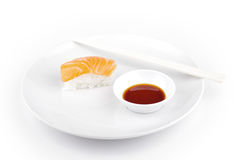 Shushi served in with souce Royalty Free Stock Image