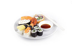 Shushi served in with souce Royalty Free Stock Photos