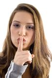 Shushing Zeichen des herrlichen Frauvertretungs-Unterhaltes Stockbilder
