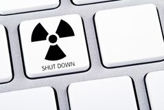 Shut Down Keyboard. Key on keyboard for shut down nuclear energy Royalty Free Stock Images