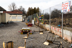 Shut down refugees camp. Scharnhausen, Germany - February 19, 2017: A temporary container city that served as a camp for refugees fleeing to Germany is shut down stock image