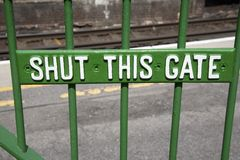 Shut This Gate Sign Royalty Free Stock Images