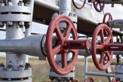 Shut-off valves on the high-pressure well flowing equipment. Oil equipment Stock Image