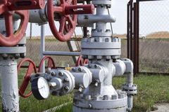 Shut-off valves on the high-pressure well flowing equipment. Oil equipment Stock Photography