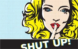 Shut up gesture woman pop art, shhh woman, woman with finger on lips, silence gesture, pop art style banner,. Shut up gesture woman pop art, shhh woman, woman Royalty Free Stock Image