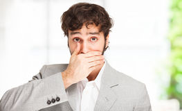 Shut up!Man shutting his mouth Stock Photo