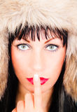 Shut up mouth. Speechless female  mouth advised to be silent Stock Photo