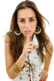 Shut up. Young casual woman going shut up, isolated Royalty Free Stock Photo