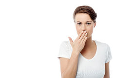 Shut your mouth ! speak no evil concept. Stock Images