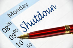 Shutdown in the agenda Royalty Free Stock Photo