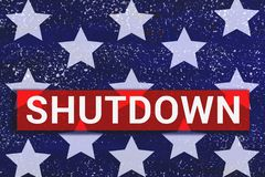 Shutdown Text With stars of Us Flag on blue background vector illustration