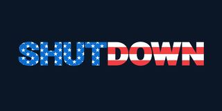 Shutdown and USA flag royalty free stock photo