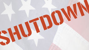 Shutdown word on old flag Stock Photo