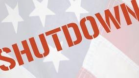 Shutdown word on old flag stock photo
