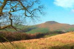 Shutlingsloe Hill digital watercolour in the Peak District National Park. A digital watercolour of the view to a distant Shutlingsloe Hill in Cheshire, Peak vector illustration