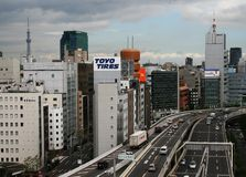 Shuto Expressway with Tokyo Skytree in the background Royalty Free Stock Image