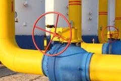 Shutoff valves on the gas pipeline Stock Photos