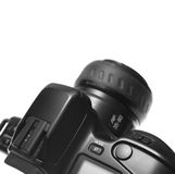 Shutter button and top of SLR. A black photographic camera viewed from the top. Focus on the area of the Shutter. Space at the top. Isolated over white royalty free stock images