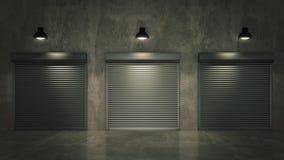 Shutter door or rolling door 3D Stock Image