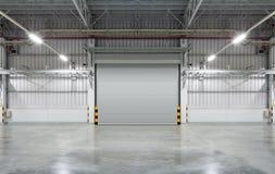 Shutter door. Or rolling door, gray color, night scene stock image