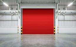 Shutter door. Or rolling door red color, night scene stock photo