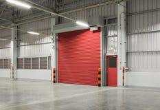 Shutter door. Or rolling door red color, night scene royalty free stock photo