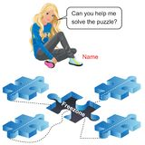 Young girl with puzzle and freezone royalty free illustration