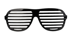 Shutter shades. Black plastic shutter shades sunglasses isolated on white royalty free stock photography