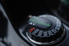 Shutter Speed Dial Button Close Up Stock Photo
