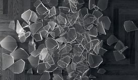 Shuttered Glass Fragments On Wooden Parquet Floor. 3D Rendering Of Shuttered Glass Fragments On Wooden Parquet Floor Top View Closeup Royalty Free Stock Photo