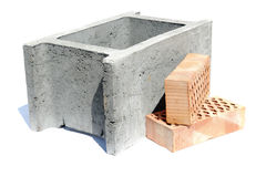 Shuttering block and two bricks Royalty Free Stock Photography