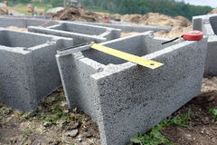 Shuttering blocks and protractor Stock Photo