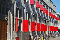 Shutters. Red shutters on a dutch facade in utrecht in holland Royalty Free Stock Photography