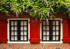 shutters and wisteria Royalty Free Stock Photo