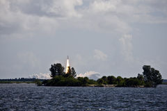 Shuttle. Space shuttle launch over the Indian River in Florida royalty free stock image