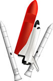 Shuttle. Illustration of a space shuttle on white with burners royalty free illustration