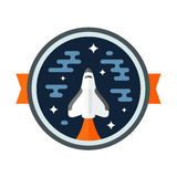 Shuttle badge. Round space scene badge with shuttle rocket vector illustration