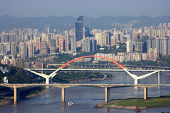 From the shuttle boats on the Yangtze River in Chongqing Royalty Free Stock Image