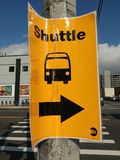 Shuttle Bus, New York City MTA Transportation Detour, Long Island City Queens, NY, USA stock photos
