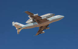 Shuttle Endeavour. EL PASO – SEPTEMBER 20:  Space shuttle Endeavour, on top of NASA's 747, takes off from Biggs Airfield on September 20, 2012 at El Paso Royalty Free Stock Photography