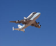 Shuttle Endeavour. EL PASO – SEPTEMBER 20:  Space shuttle Endeavour, on top of NASA's 747, takes off from Biggs Airfield on September 20, 2012 at El Paso Royalty Free Stock Photos