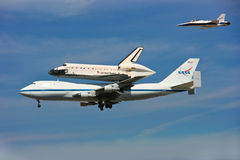 Shuttle Endeavour ends its flying days. 9/21/2012- Shuttle Endeavour ends its flying days in California stock photos