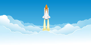 Shuttle flying in clouds. Realistic space shuttle flying in clouds after launch Stock Photo